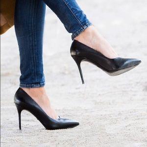 Longchamp Black Croc Heels